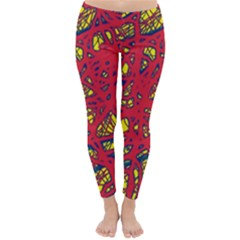 Yellow And Red Neon Design Winter Leggings  by Valentinaart