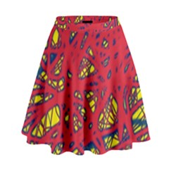Yellow And Red Neon Design High Waist Skirt by Valentinaart