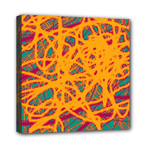 Orange Neon Chaos Mini Canvas 8  X 8  by Valentinaart