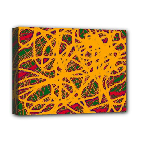 Yellow Neon Chaos Deluxe Canvas 16  X 12   by Valentinaart
