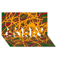 Yellow Neon Chaos Sorry 3d Greeting Card (8x4) by Valentinaart