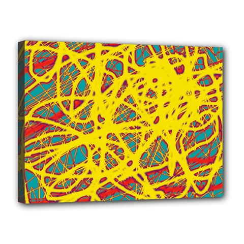 Yellow Neon Canvas 16  X 12  by Valentinaart