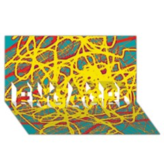 Yellow Neon Engaged 3d Greeting Card (8x4) by Valentinaart