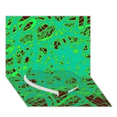 Green Neon Heart Bottom 3d Greeting Card (7x5) by Valentinaart