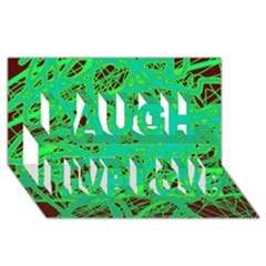 Green Neon Laugh Live Love 3d Greeting Card (8x4) by Valentinaart