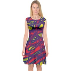 Abstract High Art Capsleeve Midi Dress