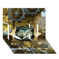 Steampunk, Awesome Owls With Clocks And Gears I Love You 3d Greeting Card (7x5)