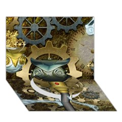 Steampunk, Awesome Owls With Clocks And Gears Circle Bottom 3d Greeting Card (7x5) by FantasyWorld7