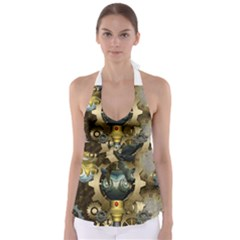 Steampunk, Awesome Owls With Clocks And Gears Babydoll Tankini Top
