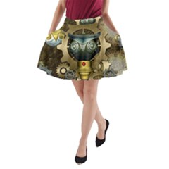 Steampunk, Awesome Owls With Clocks And Gears A Line Pocket Skirt by FantasyWorld7