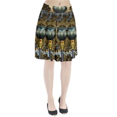 Steampunk, Awesome Owls With Clocks And Gears Pleated Skirt by FantasyWorld7