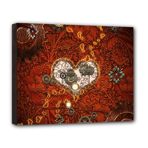 Steampunk, Wonderful Heart With Clocks And Gears On Red Background Deluxe Canvas 20  X 16   by FantasyWorld7