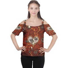 Steampunk, Wonderful Heart With Clocks And Gears On Red Background Women s Cutout Shoulder Tee by FantasyWorld7