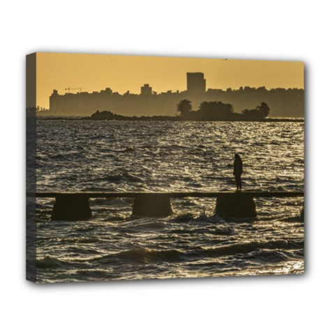 River Plater River Scene At Montevideo Canvas 14  X 11  by dflcprints