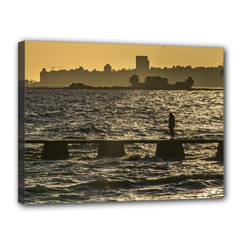River Plater River Scene At Montevideo Canvas 16  X 12  by dflcprints