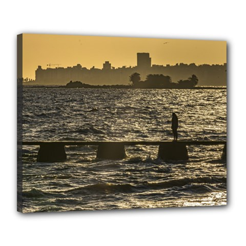 River Plater River Scene At Montevideo Canvas 20  X 16  by dflcprints