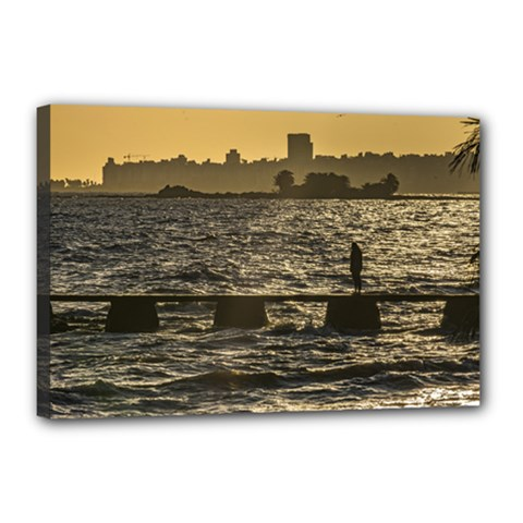 River Plater River Scene At Montevideo Canvas 18  X 12  by dflcprints