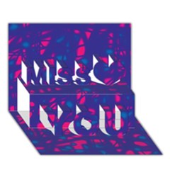 Blue And Pink Neon Miss You 3d Greeting Card (7x5) by Valentinaart