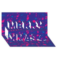 Blue And Pink Neon Merry Xmas 3d Greeting Card (8x4) by Valentinaart