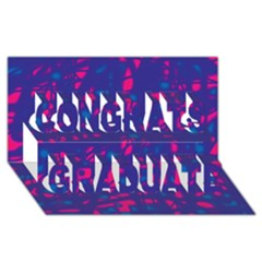 Blue And Pink Neon Congrats Graduate 3d Greeting Card (8x4) by Valentinaart