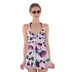 Spiral Eucalyptus Leaves Halter Swimsuit Dress