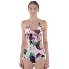Spiral Eucalyptus Leaves Cut Out One Piece Swimsuit