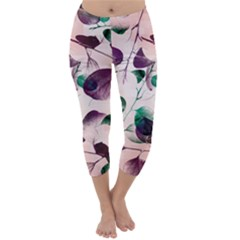 Spiral Eucalyptus Leaves Capri Winter Leggings