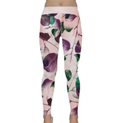 Spiral Eucalyptus Leaves Yoga Leggings  by DanaeStudio