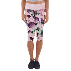 Spiral Eucalyptus Leaves Capri Yoga Leggings by DanaeStudio