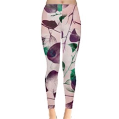 Spiral Eucalyptus Leaves Leggings  by DanaeStudio