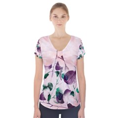 Spiral Eucalyptus Leaves Short Sleeve Front Detail Top by DanaeStudio
