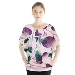Spiral Eucalyptus Leaves Batwing Chiffon Blouse by DanaeStudio
