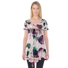 Spiral Eucalyptus Leaves Short Sleeve Tunic