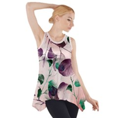 Spiral Eucalyptus Leaves Side Drop Tank Tunic by DanaeStudio