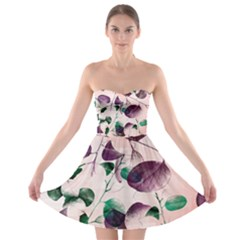 Spiral Eucalyptus Leaves Strapless Bra Top Dress