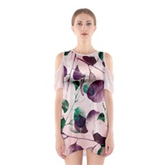 Spiral Eucalyptus Leaves Women s Cutout Shoulder One Piece by DanaeStudio