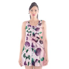 Spiral Eucalyptus Leaves Scoop Neck Skater Dress