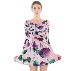 Spiral Eucalyptus Leaves Long Sleeve Velvet Skater Dress