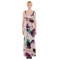 Spiral Eucalyptus Leaves Maxi Thigh Split Dress by DanaeStudio