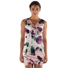 Spiral Eucalyptus Leaves Wrap Front Bodycon Dress