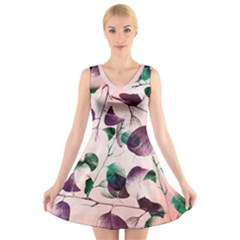 Spiral Eucalyptus Leaves V Neck Sleeveless Dress