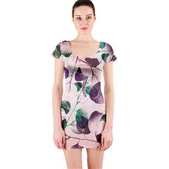 Spiral Eucalyptus Leaves Short Sleeve Bodycon Dress by DanaeStudio
