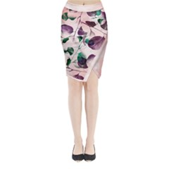 Spiral Eucalyptus Leaves Midi Wrap Pencil Skirt