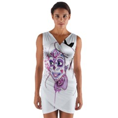 Alice Sugar Skull Wrap Front Bodycon Dress