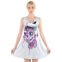 Alice Sugar Skull V Neck Sleeveless Skater Dress by lvbart