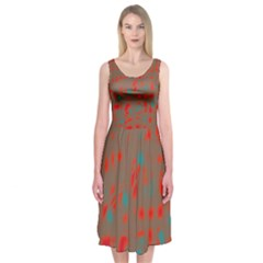 Red And Brown Midi Sleeveless Dress by Valentinaart