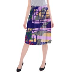 Abstract High Art By Moma Midi Beach Skirt by Valentinaart