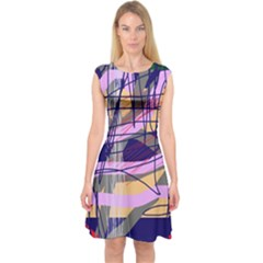 Abstract High Art By Moma Capsleeve Midi Dress