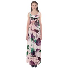 Spiral Eucalyptus Leaves Empire Waist Maxi Dress