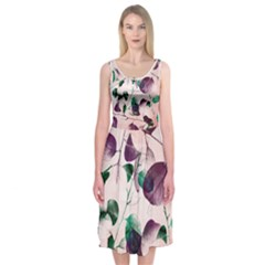 Spiral Eucalyptus Leaves Midi Sleeveless Dress